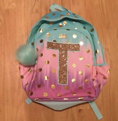 Justice Ombre Foil Dot Initial Letter T Backpack Book Bag Back To School Nwt