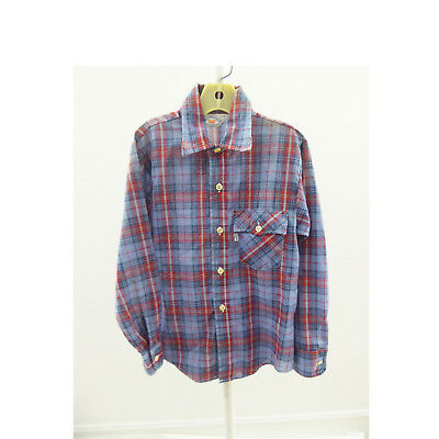 Vintage 70s Levis Kids Shirt Size 30 chest Plaid Cotton Childrens Vtg Boy Girl