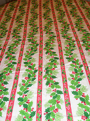 """Vintage Christmas Tablecloth Oval 62"""" Holly Berries Ribbon Pine"""