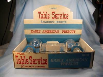 Anchor Hocking 7 Piece Table Service EAPC Early American Prescut Glassware (O)