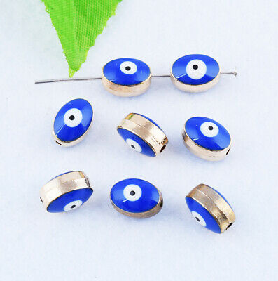 Evil Eye Loose Charms Spacer Beads Metal Jewelry Findings DIY 10x7mm Wholesale