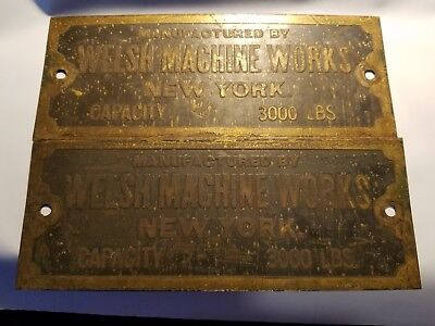 Two Manufactured By Welsh Machine Works New York Brass Signs Capacity 3000 Lbs