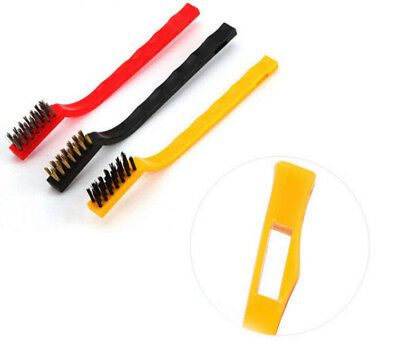 3Pcs Iron/Copper/Nylon Wire Kitchen Gas Stove Long Cleaning Handle Brush Gadget