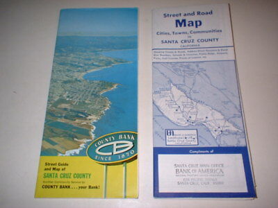 Vintage 1970s Santa Cruz County Maps, Street Road Bank of America California
