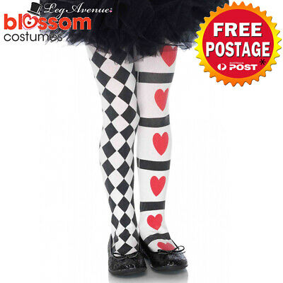 AC450 Leg Avenue Harlequin Queen Of Hearts Jester Clown Costume Tights Stockings