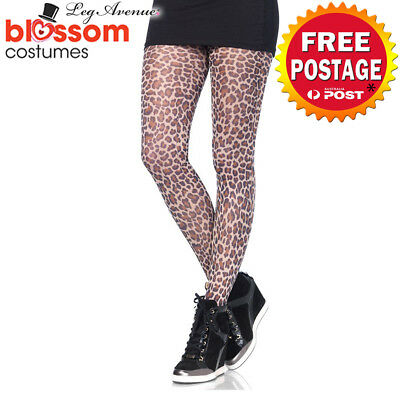 AC452 Leg Avenue Leopard Print Tights 80s Full Pantyhose Stockings Opaque Animal