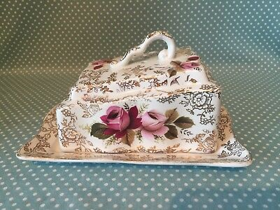 Vintage James Kent Old Foley pink & white rose chintz York cheese/butter dish.