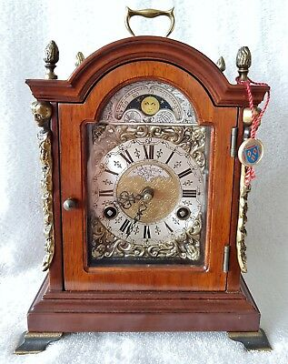 Warmink Clock Dutch Shelf Bracket Mantel Nut Wood 8 Day Moonphase Bell Pendulum