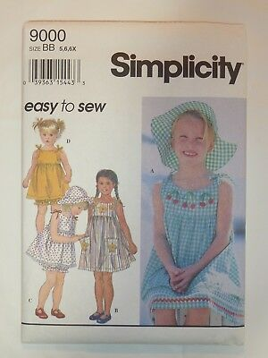 Childs Dress or Top, Bloomers & Hat w Applique ~ Simplicity 9000 Size BB 5,6,6X
