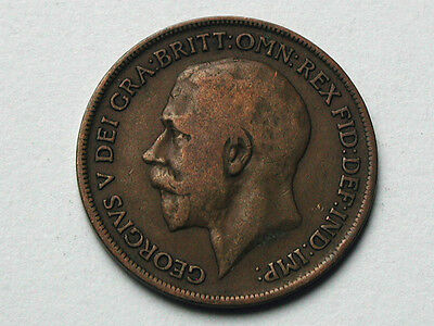UK (Great Britain) 1919 ONE PENNY (1d.) King George V British Coin
