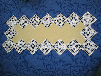 Exquisite Antique Norwegian Hand Embroidered Hardanger Lace Table Runner