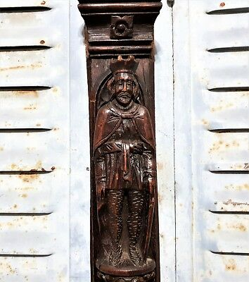 Gothic king corbel Antique french hand carved wood figure salvaged furniture