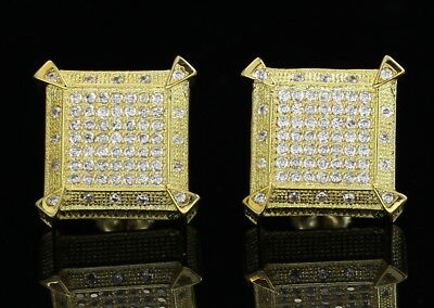 Mens Square Large Block Studs 15mm Hip Hop 14k Gold Plated Screw Back Earrings