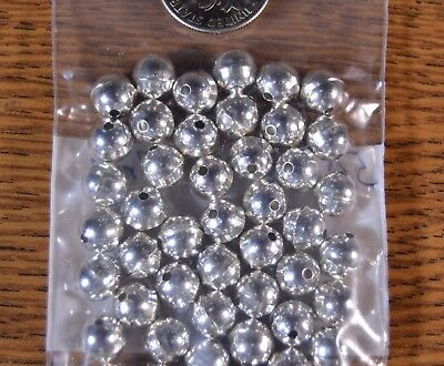 50 Sterling Silver 7mm Bench Made Beads Style Raised Seam Lot of 50 USA