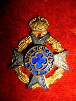 Royal Army Chaplain's Department KC Silv, Gilt & Enamel Cap Badge, WW2 era