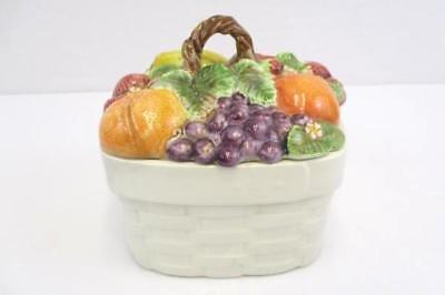 Ceramic Lidded Fruit Basket Jar Thanksgiving Harvest Twisted Handle Cookie Jar