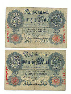Germany Money German Currency 1914 20 Mark Bill Reichsbanknote 2 Different !!!!!