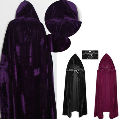 Halloween Costumes Cloaks Hood Cape Magic Adult Cosplay Witch Coat Cloak Solid