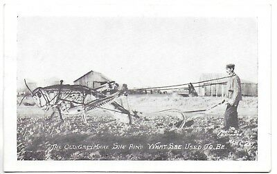 Old B+W Postcard  Exagerrated View  Farmer Plows with Huge Grasshopper  (#2319)