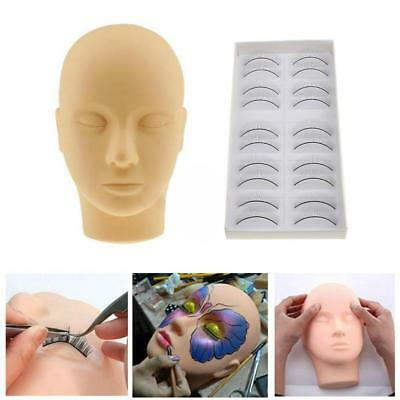 Pro Training Mannequin Flat Head Stand Practice MakeUp Eye Lashes Extension Kit