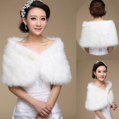Bridal Faux Fur Coat Jacket Shawl Wedding Cape Wrap Bolero Scalf Shrug Cloak Hot