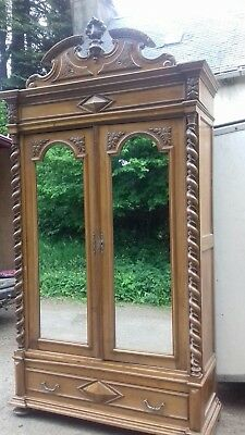 Huge 277Cm High Stunning Ornate Fruit Wood  Mirror Door French Antique Armoire