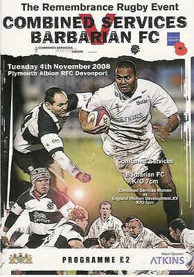 COMBINED SERVICES v BARBARIANS 2008 RUGBY PROGRAMME