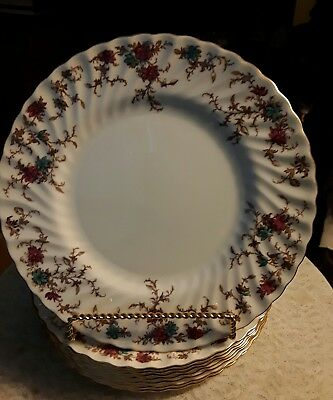 "SET OF 8 Minton Ancestral S-376  10 1/2"" Dinner Plate - Wreath"