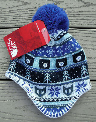 NWT THE NORTH FACE Baby Faroe Fleece Lined Beanie Hat-XS (6-24 Months) @$28 BLUE