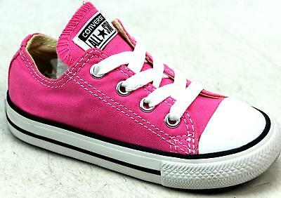 e78c29c471b6 Kids Girls Converse All Star Pink Classic Canvas Skater Pumps Trainers Uk  Size 7