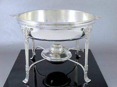 EMPIRE Neoclassical Style Silverplate WARMING DISH TRAY W/STAND & BURNER