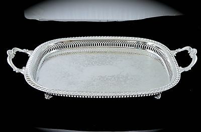 Gorgeous Vintage MORTON PARKER CANADA Silverplate SERVING FOOTED GALLERY TRAY