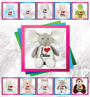 Personalised Any Name I Love Embroidered Teddy Birthday Christening Baby Gift