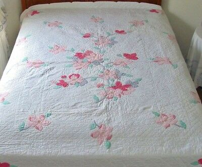 Vintage Hand Made Applique Embroidered Cotton Quilt Pink Gray Flowers Green