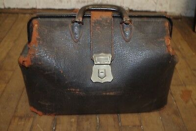 Rare Old Antique Vintage Black Leather Doctors Bag - USED WORN SHABBY as is