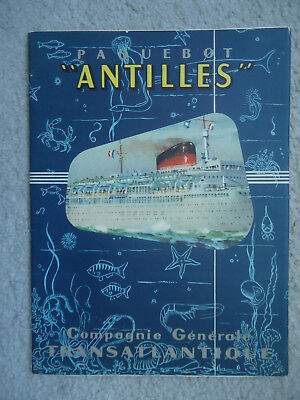 French Line - ss Antilles -  Brochure with Cutaway -  Circa 1960