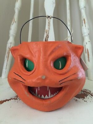 VINTAGE Style Paper Pulp ORANGE Cat Jack O Lantern By SEASONS GONE Papier-Mache