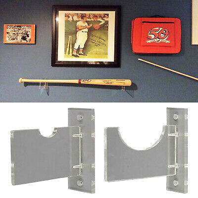 Deluxe Clear Acrylic Standard Single Baseball Bat Horizontal Wall Mount Rack