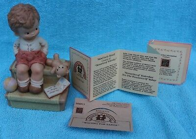 Waiting For Santa Boy Sitting on Stairs #114995 Enesco Dated 1988 Original BX