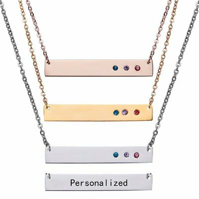 NEW Personalized Stainless Steel Name Bar Necklace Custom Pendant Jewelry Gifts