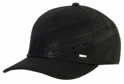 New +Tag Billabong Mens Boy Slice L-Xl Stretch Curved Peak Flexfit Cap Hat Black