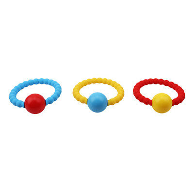 1pcs Baby Wooden Teether Bracelet Natural Wood Ring Silicone Beads Safe Toys CB