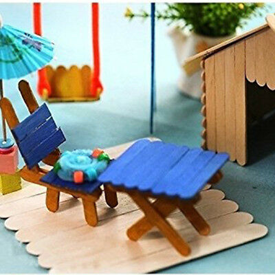 50PCS Wooden Popsicle Stick for Ice Cream Cake Lolly Hand DIY Kids Art Carft CB