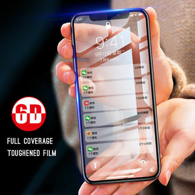 6D For Apple iPhone 6 7 8 Plus X Full Cover Tempered Glass Screen Protector Film