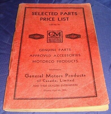 BR246 1936 GM General Motors Selected Parts Price List No 87 Manual
