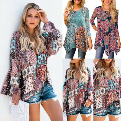 AU Womens Boho Floral V-neck Long Sleeve Shirt Ladies Loose Casual Tops Blouse