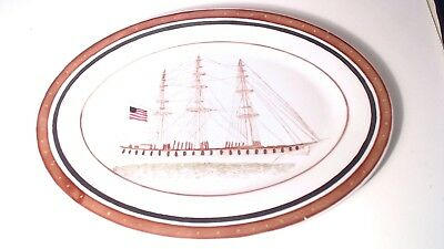 Early 20Th Century Chinese Export Porcelain Platter Sailing Ship #55
