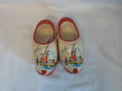 Vintage RED WOODEN SHOES from Holland HAND PAINTED Lighthouse Windmill
