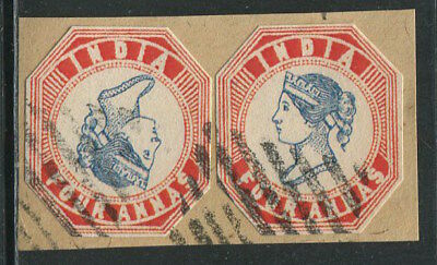 INDIA 1855 QV Victoria Normal & Inverted 4 Annas Used cut Modern Aged REPLICA