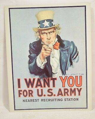 Original 1968 Uncle Sam I Want You US Army Recruiting Sign 14x11